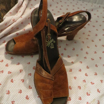 leather and suede open toe pumps, vintage 70s hush puppies leather  heels