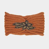 Women's Orange Knit Ear Warmer Headband Head Wrap with Beautiful Beaded Applique Winter Hats Winter Accessories Headbands