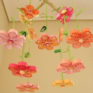Baby Mobile - Crib Mobile - Quilling Quilled Mobile -  Nursery Mobile - Flower Mobile 1B