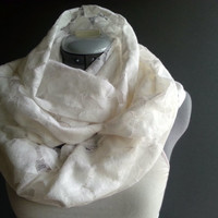 Lacy White Women's Infinity Scarf, white lace loop scarf