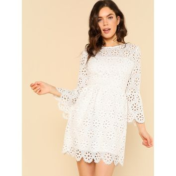Trumpet Sleeve Eyelet Lace Scallop Dress