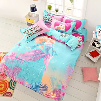 Home Textile Island Princess Bedding Set Cartoon Doraemon Bed Linen for Girl/Boy Gift Duvet Cover Set with Bed Sheet Pillowcase
