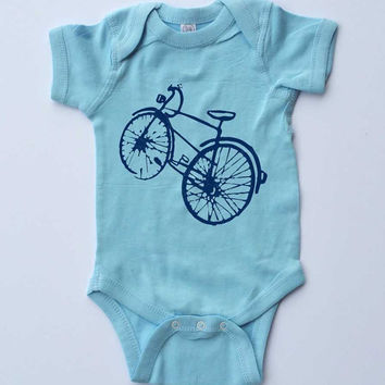 Baby Onesuit-Blue Bicycle-Baby Boy Outfit-Blue Onesuit bodysuit-Baby gift for cyclists
