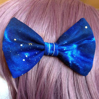 Navy Blue Galaxy Star Planet Moon Outer Space Lolita Kawaii Dolly Harajuku Decora Soft Grunge Tumblr Fashion Hair Bow Tie