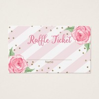 Bridal Shower Raffle Tickets Pink Watercolor Gold