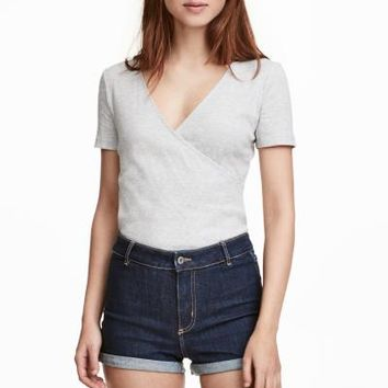Ribbed Wrapover Top - Light gray melange - Ladies | H&M CA