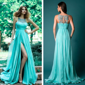 Lace Patchwork Backless Prom Dress One Piece Dress [10972828943]