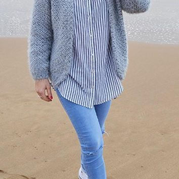 Grey Plain Collarless Fashion Acrylic Loose Cardigan Sweater