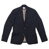 2 BUTTON NOTCH LAPEL BLAZER-NAVY WOOL SUITING