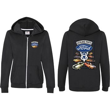 Ladies Ford Mustang Full Zip Hoodie V8 Collection Front and Back