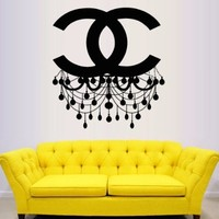 Wall Decal Vinyl Sticker Decals Art Decor Design Chandelier Luster Coco Chanel Light Living Room Bedroom Modern Mural Fashion Gift (M1334)