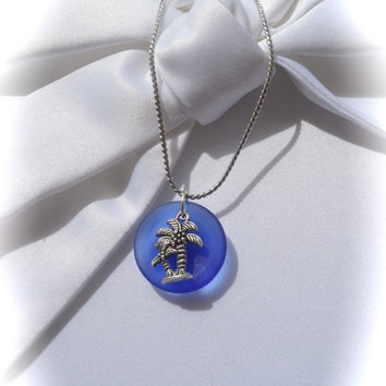 Laborday SEA GLASS  Jewelry,Necklace, Jewelry,Seaglass,pendant,palm tree,Beach Glass,Blue,Tropical Necklace,Blue Glass,silver chain,beach je
