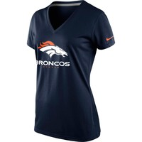 Nike Denver Broncos Ladies Everyday Legend V-Neck Performance T-Shirt - Navy Blue