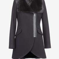 TULIP COAT SHEARLING FUR & LEATHER TRIM