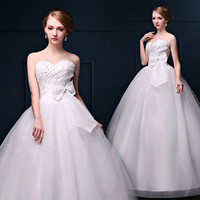 2016 New White Cheap Wedding Dress Bridal Gown Custom Size 6 8 10 12 14 16+++