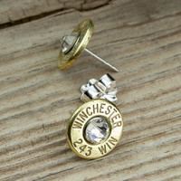Classy, Dainty .243 Brass Bullet Head Earrings WIN-243-B-SEAR