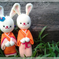 Free shipping, Cute bunnies couple crochet dolls in orange