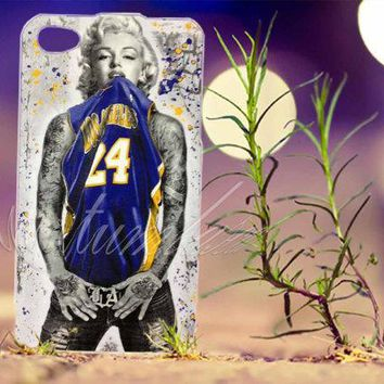 marilyn monroe kobe bryant lakers jersey photo print for iphone 4 4s iphone 5 5s 5c samsung s3 i9300 samsung s4 i9500 hard case  number 1