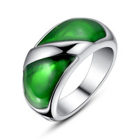Stainless Steel Green Epoxy Ring