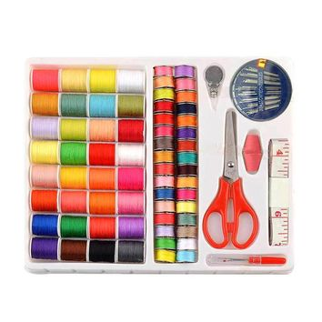 Thread Needle Sewing Kit Measure Scissor Thimble Storage Box Travel Sets E2S