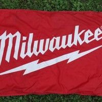 "Milwaukee Tools Double Sided Nylon Flag 56"" x 34"" Heavy Duty Construction Site"