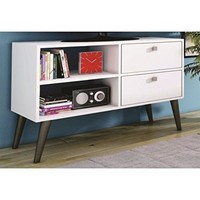 Practical Dalarna TV Stand with 2 Open Shelves and 2- Drawers in White
