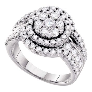 14kt White Gold Womens Round Diamond Flower Cluster Cluster Ring 2.00 Cttw
