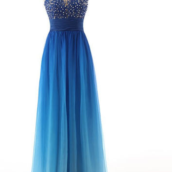 Sleeveless Prom Dress, Blue Prom Dresses,Long Evening Dresses