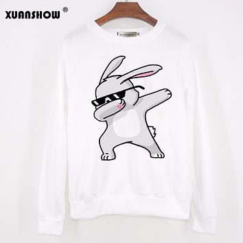 XUANSHOW 2017 Autumn Winter Fashion Women Sweatshirt Long Sleeve Unicorn Printed Funny Hip Hop Fleece Dabbing Rabbit Emoji Tops