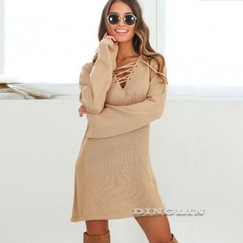 GZDL Sexy Women Sweater Dress Autumn Clothes V Neck Long Sleeve Solid Women's Casual Lace Up Tie Knitted Clubwear Dresses CL3340