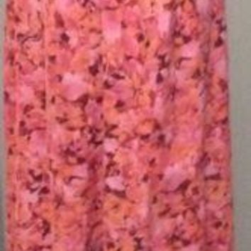 TALBOTS Multi-color pink Floral Pattern Straight Maxi Skirt 6