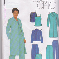 Pattern for career wardrobe lined duster or short jacket, camisole top, straight skirt and pants misses size 4 6 8 10 Simplicity 9572 UNCUT