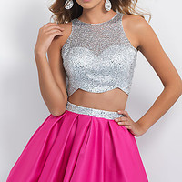 Short Two Piece Blush Homecoming Dress