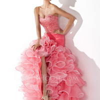 [US$ 170.49] Trumpet/Mermaid Sweetheart Asymmetrical Organza Satin Prom Dress With Ruffle Beading Sequins (018005075)