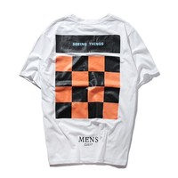 2018 Stripes Letters Round Neck Short Sleeve T-Shirt