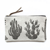Amelie Mancini Cactus Zippered Pouch