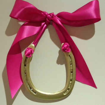 Lucky Horseshoe-Hand Painted Gold w Hot Pink Ribbon w custom gift tag/bag, housewarming horseshoe, lucky horse shoe,horseshoe