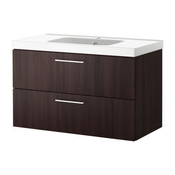 GODMORGON/ODENSVIK Sink cabinet with 2 drawers - black-brown - IKEA