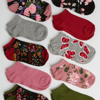 10-Pack Floral Assorted No Show Socks