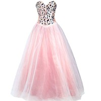 Faironly Light Pink Crystal Prom Gown Formal Dress