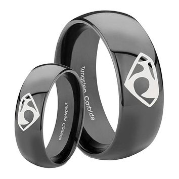 His Her Classic Dome House of Van Shiny Black Tungsten Wedding Rings Set