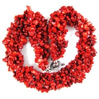 """30mm red coral chip bead necklace 18"""""""