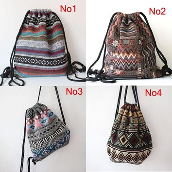 2016 Women Vintage Backpack Gypsy Bohemian Hobo Chic Hippie Aztec Folk Tribal Woven String Backpack Female Drawstring Rucksack