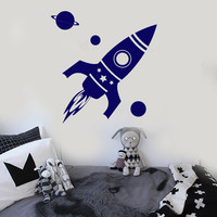 Vinyl Wall Decal Rocket Space Planet Kids Room Stickers (ig4153)