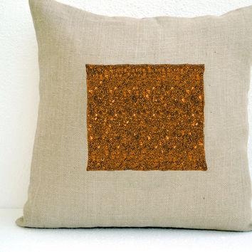 Ivory Burlap pillow cover with royal jewels in gold sequins and beads - Decorative cushion cover - Easter decor- Throw pillow 16X16