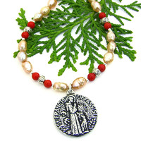 St Francis and Dog Necklace, Rice Krispie Pearls Red Coral Pewter Handmade Jewelry for Women