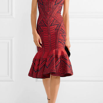 Hervé Léger - Fluted metallic stretch jacquard-knit midi dress