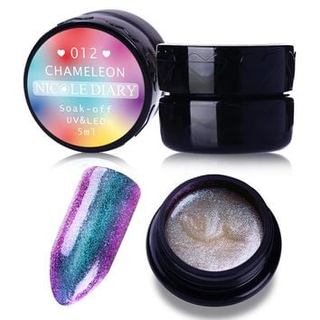 5ml NICOLE DIARY Chameleon UV Gel Soak Off Sparkly UV & LED Gel Varnish Polish Manicure Nail Art Color