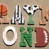 Wooden Sports Letters - Wood Sport Initials - Basketball Letter - Football Letter Initials - Soccer Letter Initial - Baseball Letter Initial