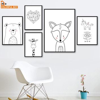 Fox Bear Giraffe Unicorn Heart Wall Art Canvas Painting Nordic Posters And Prints Animal Wall Pictures Baby Kids Room Home Decor